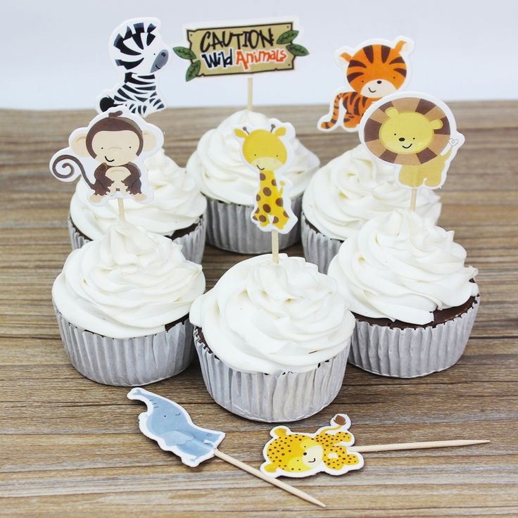 24pcs Animals Zoo Cake Decorating Tools Baking Paper Picks Birthday Party Decorations Kids Cupcake Picks Wedding Cake Decoration