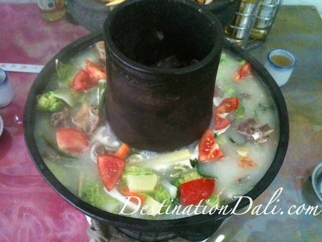 Tibetan hot pot at the Book Cafe in #Dali. Read about eating Tibetan hot pot here: http://destinationdali.com/dali/article/eating-tibetan-hot-pot-in-dali/