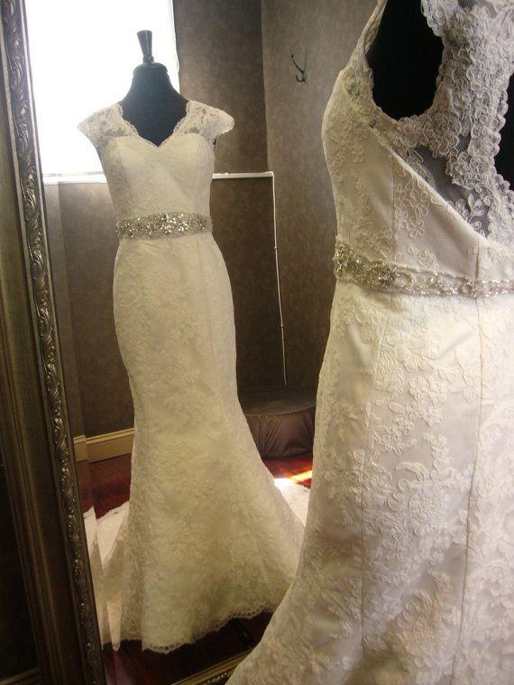 Keyhole Wedding Dress with Cap Sleeves and by WeddingDressFantasy, $1755.00