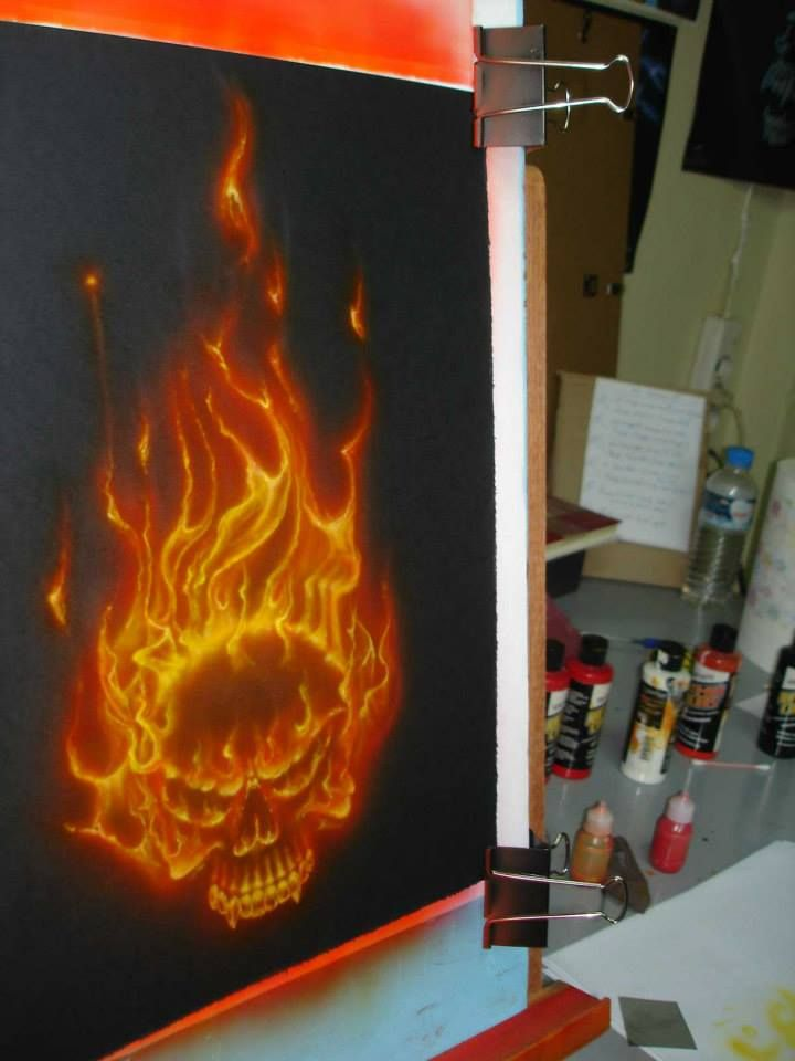 Testing the True-Fire technique!-Flaming Skull!!