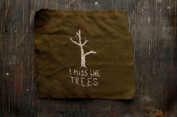 Olive Green Embroidered I MISS The TREES Back by PeachMoonDIY