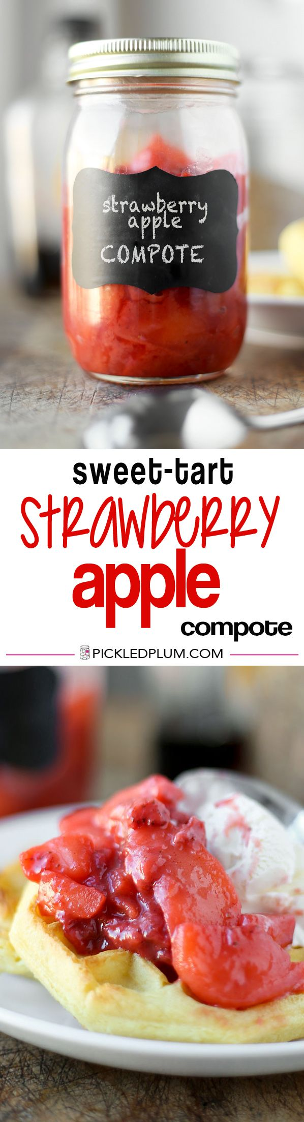 Sweet-Tart Strawberry Apple Compote Recipe. Apples and strawberries cooked in a thick syrup with spices and a little sugar. Pairs beautifully with waffles and ice cream (SO GOOD), oatmeal, duck or pork. Highly Addictive! | pickledplum.com