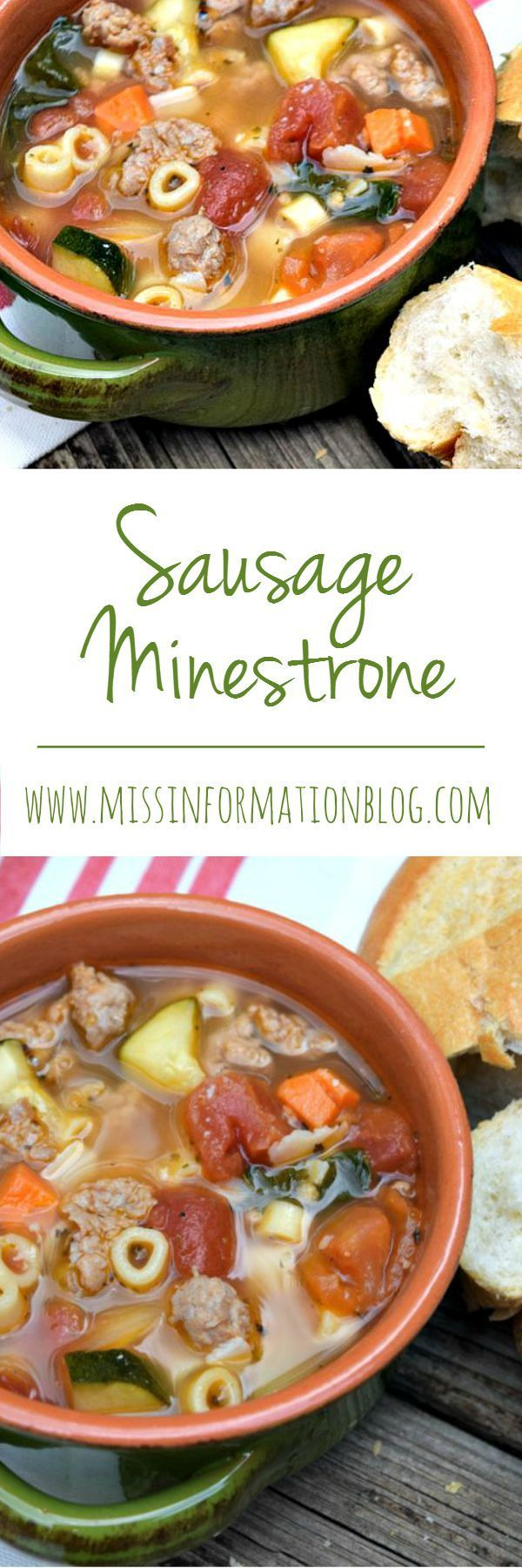 The Best Recipe for Minestrone Soup made with Shady Brooke Farms Italian Sausage and lots of yummy veggies. Includes instructions for stove top or crockpot. Pin it to make it now you won't be sorry our family loves it!