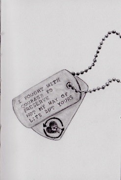 Dog tags with lyrics from Survivor Guilt by Rise Against, along with their logo. http://footballhockeypilot.deviantart.com/