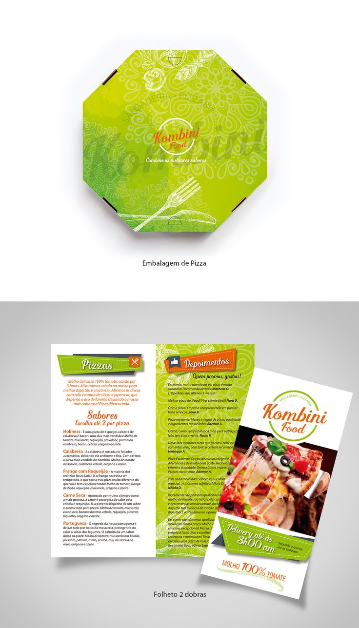 Kombini Food - Salgaderia e Pizzaria, embalagem e folder - designed by Sandra H. V.