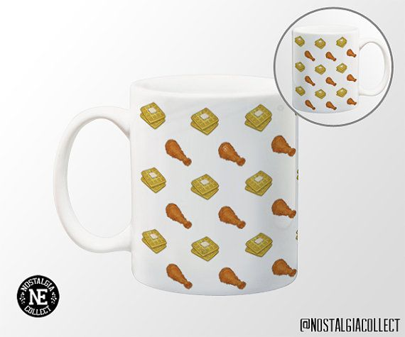 Chicken and Waffles Patterned Coffee Mug  11 by NostalgiaCollect