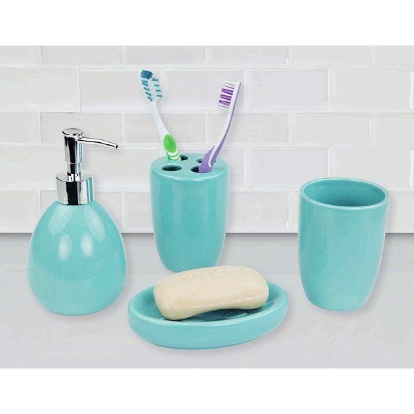 Grace your bathroom vanities with a modern flair by displaying this 4 pieces contemporary bath accessory set. This 4 Piece Bath Accessory Set includes all the essentials to get you through your routine, from the rounded lotion dispenser with durable stainless steel pump for easy dispensing, generous size tumbler for rinsing or drinking, a large soap dish to store your favorite bar of soap and 4 slot toothbrush holder to keep your toothbrushes organized. The beautifully simple design…