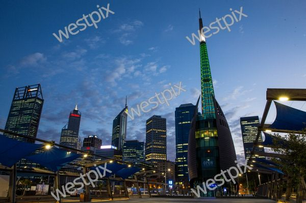 The Bell Tower against the Perth CBD in early morning light. Pic Mogens Johansen, The West Australian