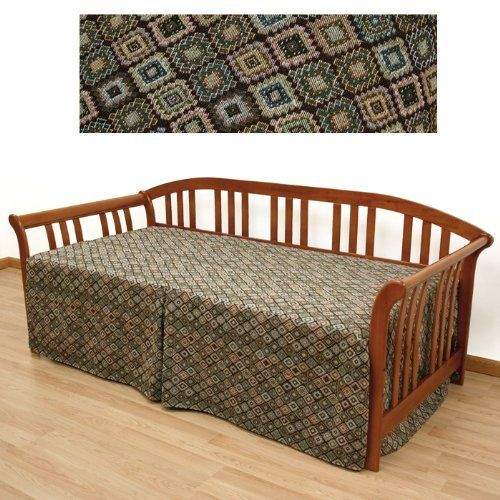Navarro Southwestern Daybed Cover 5pc Pillow set 628 by SlipcoverShop. $130.00. In Stock - Ships within 2 days. See Sizing and Product Description below. Easy Fit® daybed cover is sewn in such a way that you will no longer have to struggle with tucking excess fabric down the back of the daybed. Features three sided skirt, a kick pleat in the front of cover and tailored split corners. Made to fit twin daybeds measuring 39 inches wide and 75 inches long. Standard ...