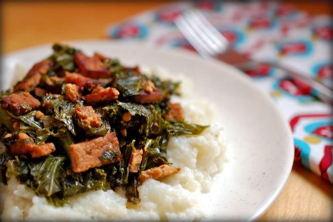 Mashed Cauliflower Topped with Braised Smoky Tempeh Bacon & Kale Recipe (vegan)
