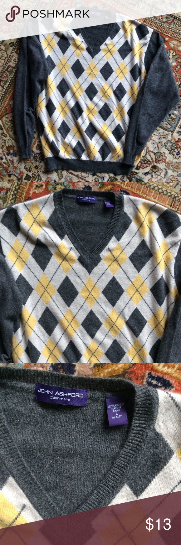 Men's cashmere sweater by John Ashford, sz L Luxury and class combine to make this soft sweater by John Ashford a win!! john ashford Sweaters
