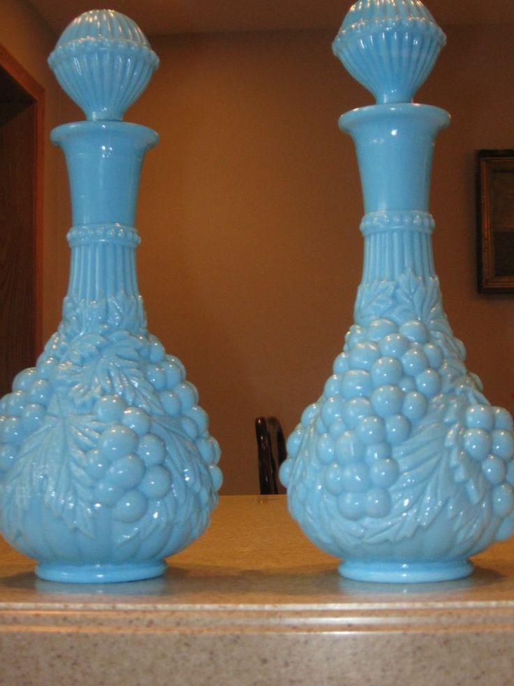 2 Vintage Imperial Glass Blue Milk Glass Grape Wine Decanters Love Blue Milk Glass