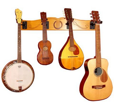 The new The Pro-File™ Wall Mounted Ukulele and Mandolin Hanger. See product details at https://www.guitarstorage.com/shop/ukelele-mandolin-wall-hanger/