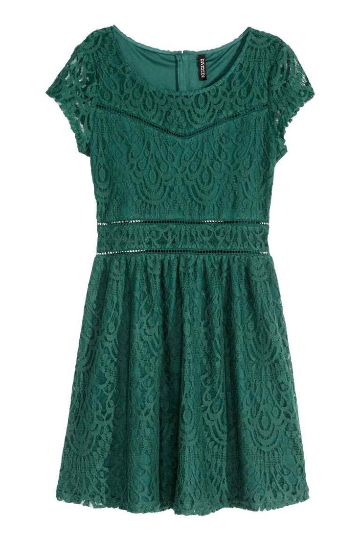 Lace dress: Short-sleeved lace dress with a concealed zip at the back, seam at the waist and gently flared skirt. Partly lined.