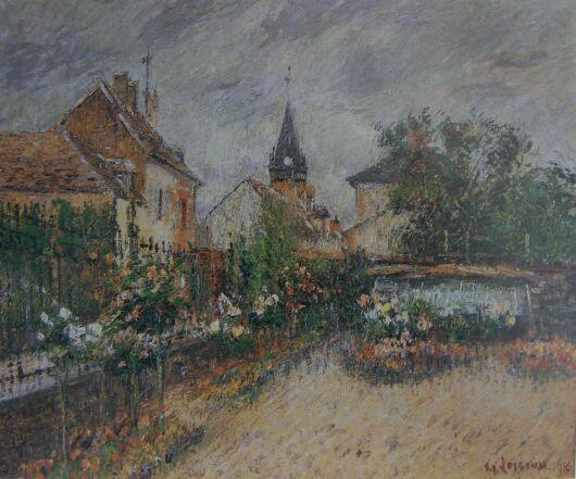 """Gustave Loiseau ~ """"Jardin de l'Ecole Saint Cyr"""" - Huile sur Toile 1916"""