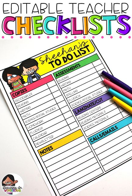Classroom Design Checklist ~ Teacher checklists checklist and