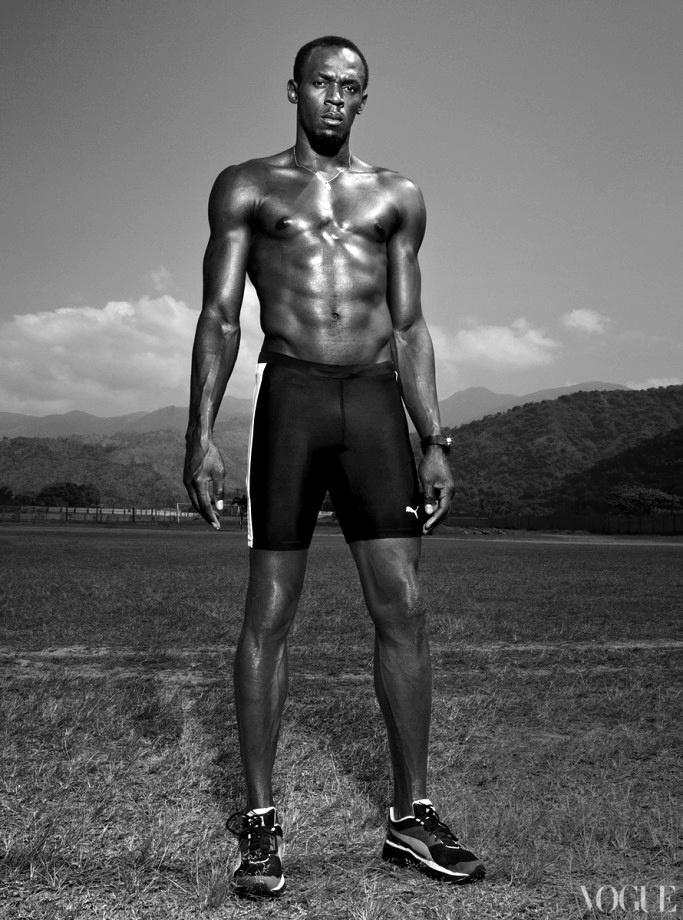 Usain Bolt   Vogue atleet 100 meter sprinter sprint legend sports sport god beast fastest men on the planet gold olympic champion