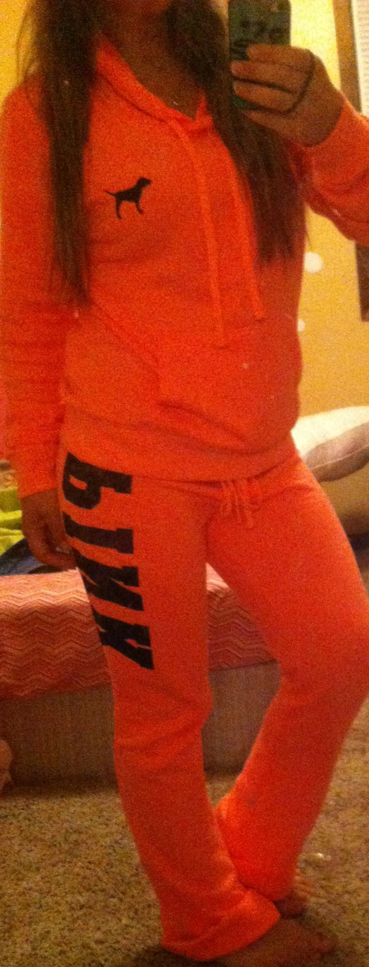 My new coral Victoria's Secret pink hoodie and sweats! Gorgeous color and incredibly soft. Perfect for fall and winter!!
