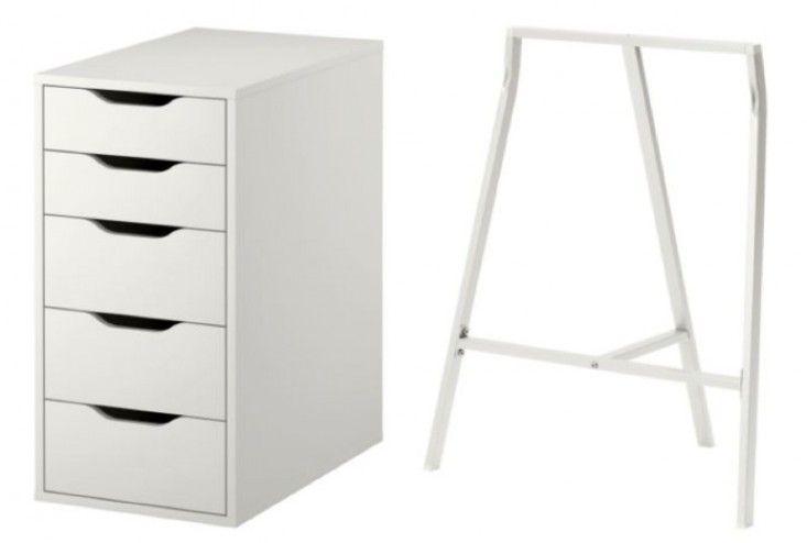 Ikea, Alex Pedestal, Lergerg Trestle, Steal This Look Urban Bedroom | Remodelista