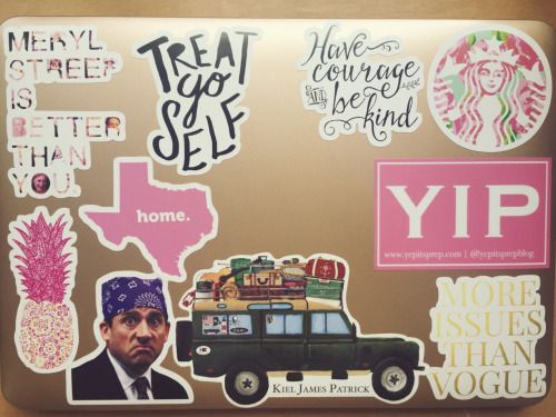 classy-kate:  preciousasapeony:  My new favorite stickers on my MacBook!  This is the best stickered computer I've seen yet. I need the Steve Carell sticker