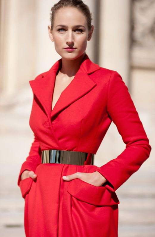 glamourous red and silver belt fashion style