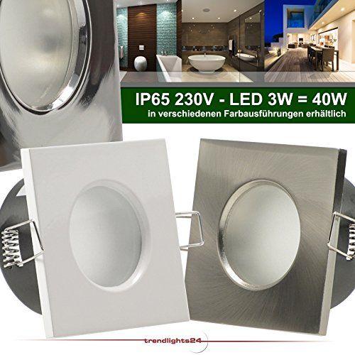6er Set (6-10er Sets) Decken Einbaustrahler Bad AQUA BASE IP65 quadratisch eckig 230V EDELSTAHL OPTIK gebürstet; COB LED 3W = 40W; Warm-Weiß; Einbauleuchte für Feuchtraum + Außen - http://led-beleuchtung-lampen.de/6er-set-6-10er-sets-decken-einbaustrahler-bad-aqua-base-ip65-quadratisch-eckig-230v-edelstahl-optik-gebuerstet-cob-led-3w-40w-warm-weiss-einbauleuchte-fuer-feuchtraum-aussen/ #BadEinbauleuchten #Trendlights24