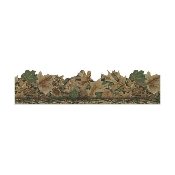 York Wallcoverings WD4130B Real Tree Camouflage Border Brown / Green ($31) ❤ liked on Polyvore featuring home, home decor, wallpaper, borders, leaf wallpaper, brown home decor, brown leaf wallpaper, york wallcoverings and green home accessories
