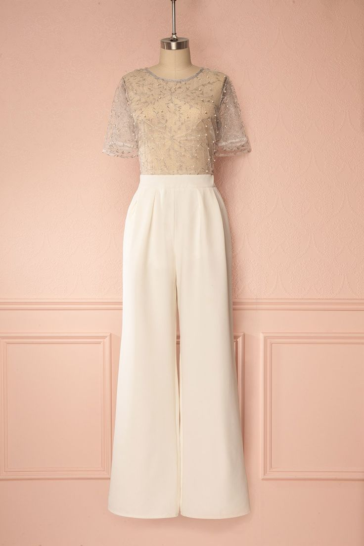 Vincillia White & Silver Jumpsuit with Glitter & Pearls | Boudoir 1861