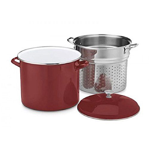 Cuisinart Chef's Classic Enamel on Steel Stockpot with Steamer Basket and Cover, 20 quart // http://cookersreview.us/product/cuisinart-chefs-classic-enamel-on-steel-stockpot-with-steamer-basket-and-cover-20-quart/  #cooker #pressure #electric