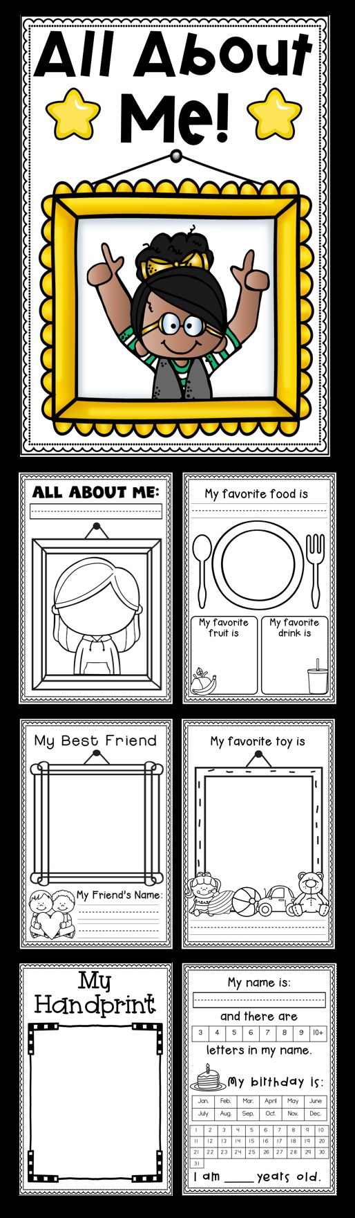 All About Me Mini Booklets by Tweet Resources. Perfect for your Social Studies lessons. So many options to choose from to create your mini booklet, such as favorite color, favorite book, handprint, best friends, special talents and more! Perfect for Kindergarten and First Grade.