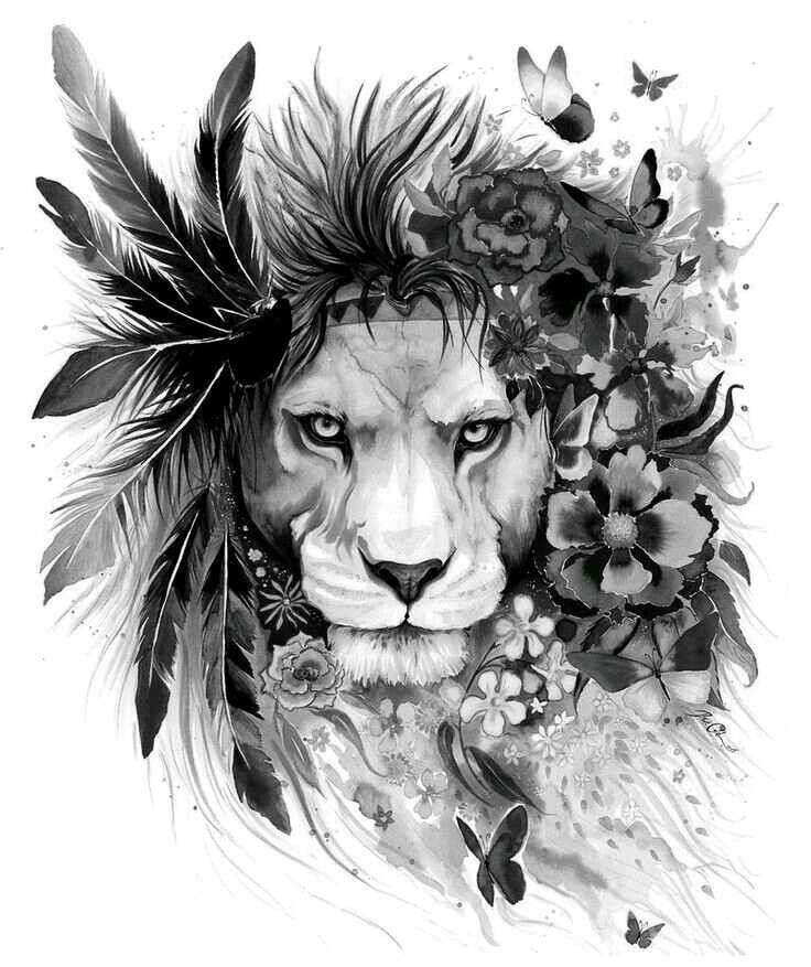I really like this. Like a lion is dangerous but it's covered in flowers