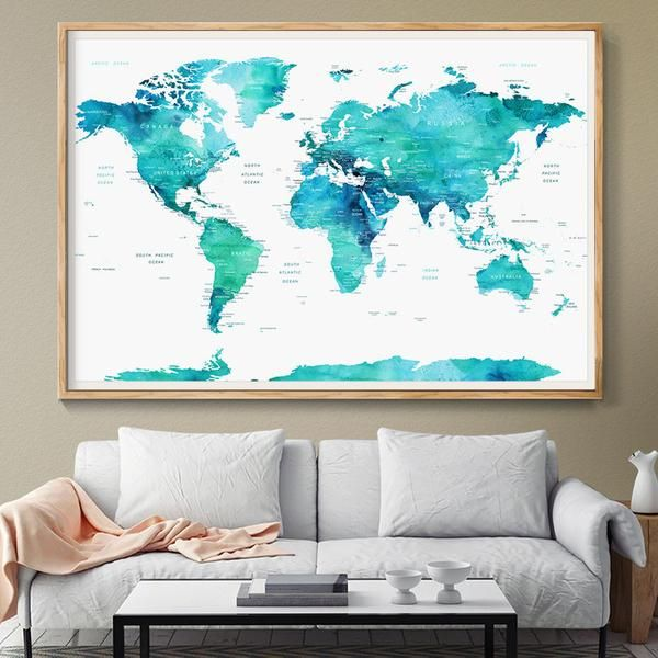 44 best extra large world map images on pinterest extra large personalized push pin world map poster world map watercolor blue mint countries world map gumiabroncs Gallery