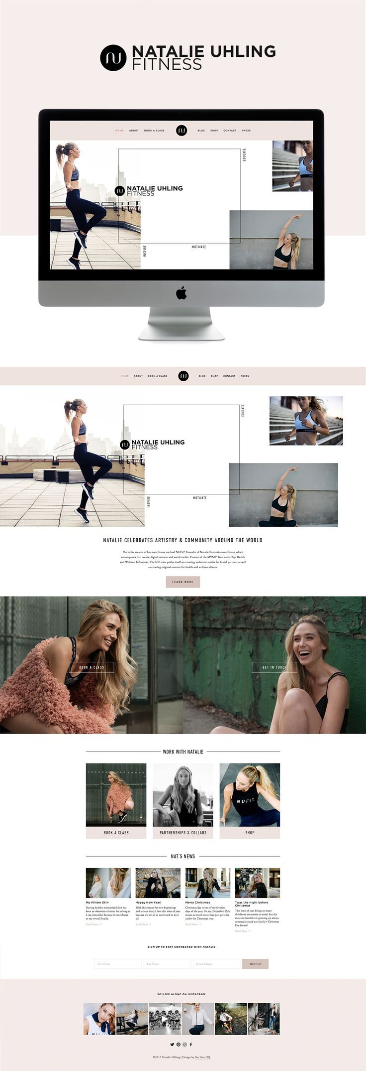 clean feminine elegance meets fitness squarespace website design | designed by: golivehq.co