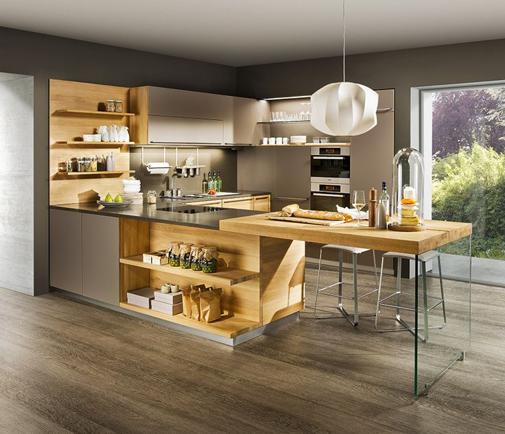 Line luxury kitchen with glass and wood bar