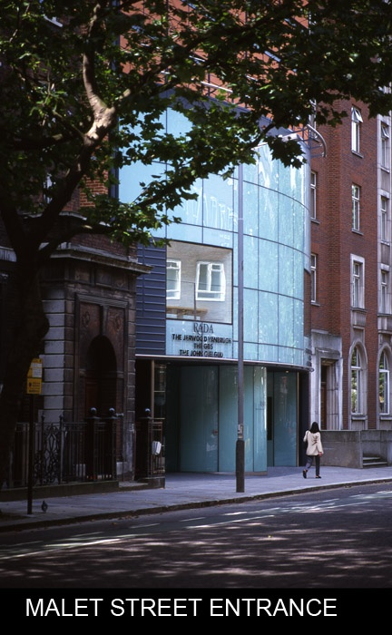 Malet Street entrance to RADA (Theatres, Foyer and RADA Bar and Cafe Entrance)