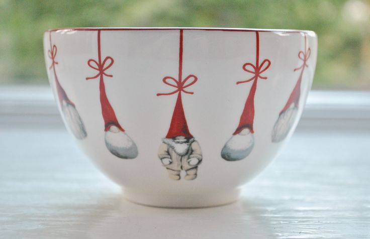 """This is an adorable holiday serving bowl from Sweden. It has 5 Tomtar (Santas) Christmas ornaments on the front and one inside. Modern design. Measures 4 1/2"""" in diameter and 3 1/2"""" deep. Makes an exc"""
