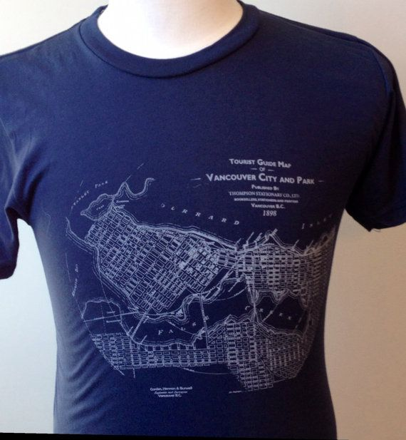 Downtown 1898 Tourist Map Womens Hand printed by TheHivePrinting, $28.00