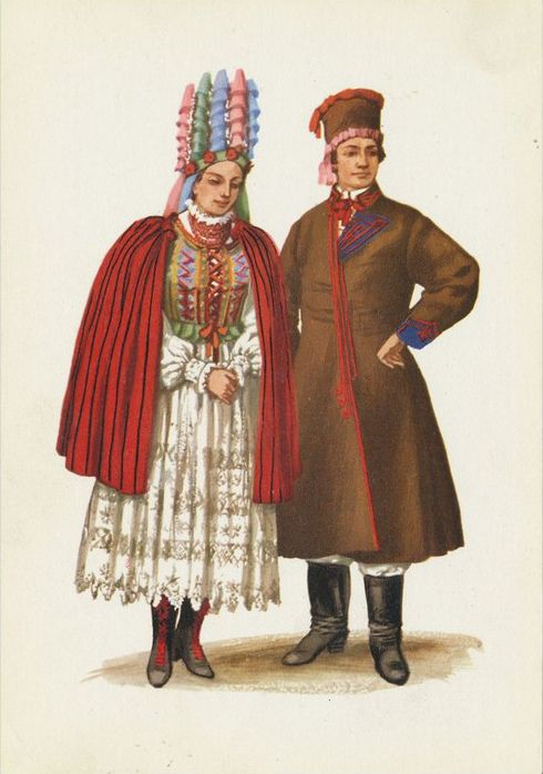 Traditional flower crowns from Poland. Region of Holy Cross Mountains (Góry Świętokrzyskie). Postcard with illustration by Maria Orłowska-Gabryś (1925-1988).