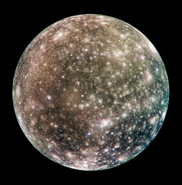 Callisto is a moon of the planet Jupiter. It was discovered in 1610 by Galileo Galilei. It is the third-largest moon in the Solar System and the second largest in the Jovian system, after Ganymede. Callisto has about 99% the diameter of the planet Mercury but only about a third of its mass. It is the fourth Galilean moon of Jupiter by distance, with an orbital radius of about 1,880,000 km.