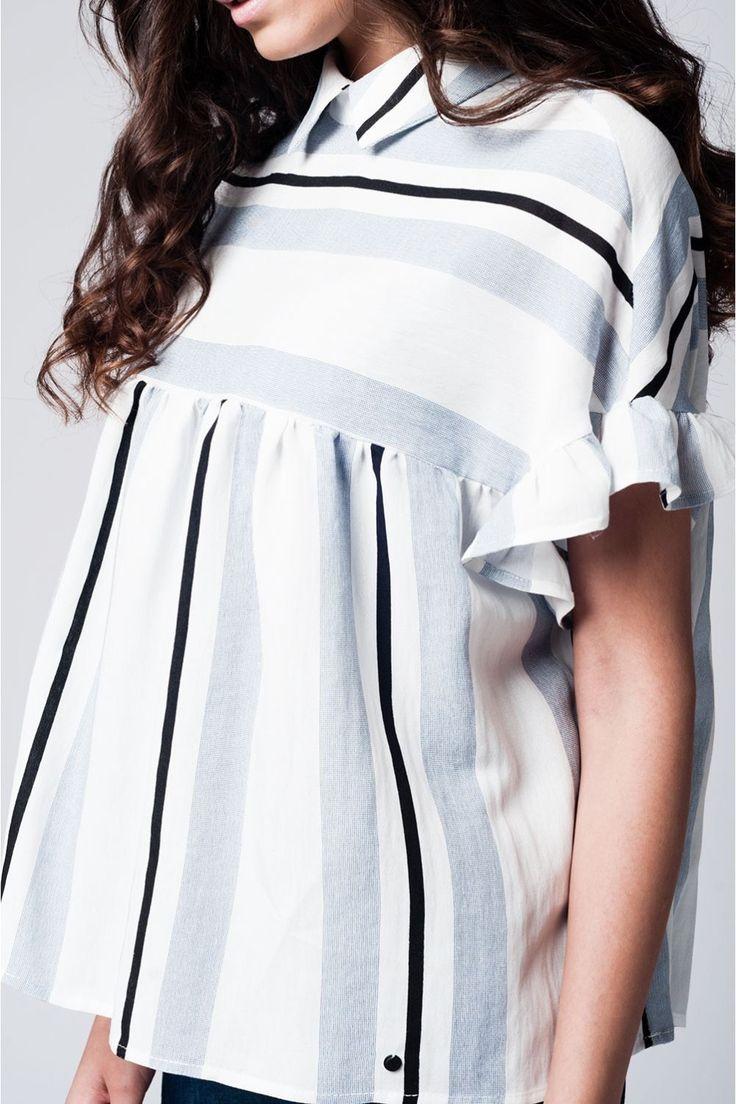 Blue Smock Top In Stripe w/ Ruffle Sleeve via Aiyana   Kiya. Click on the image to see more!