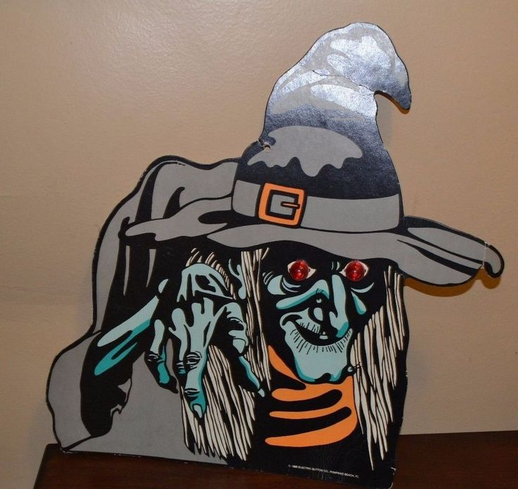vintage 1988 cardboard witch light up eyes halloween decoration cut out rare - Light Up Halloween Decorations