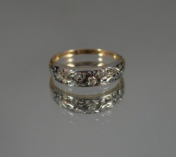 Floral Wedding Band Antique White Yellow Gold Cluster Engagement Ring