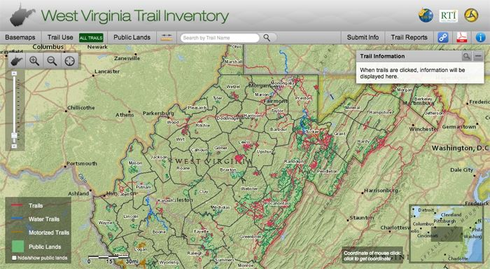 A new online inventory maps West Virginia's Trails - WV Living - http://mapwv.gov/trails/