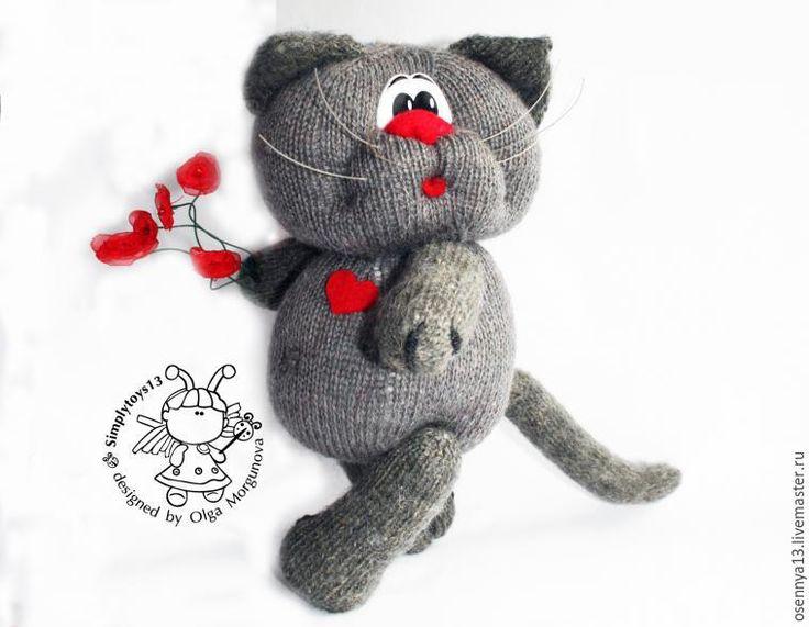 Вяжем игрушку спицами «Влюбленный кот» - Ярмарка Мастеров - ручная работа, handmade