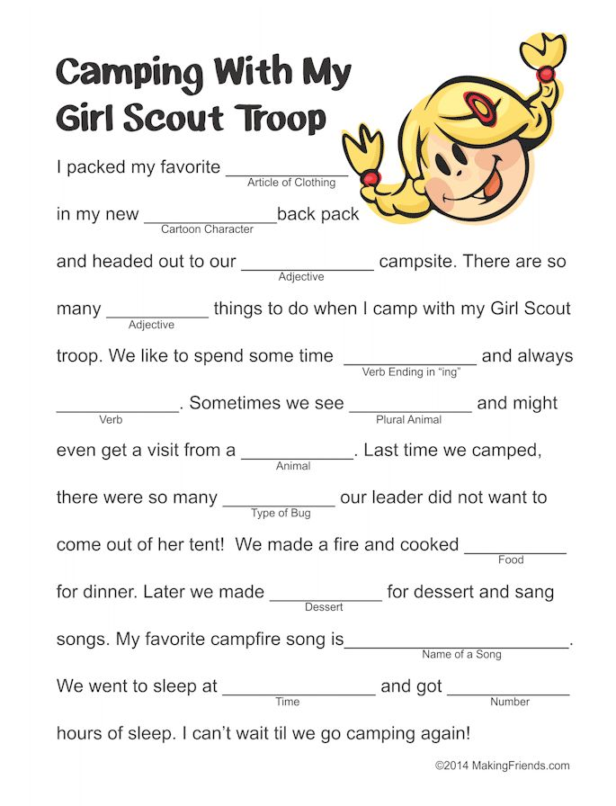 Girl Scout Camping Mad Lib Girl Scouts Girl Scout