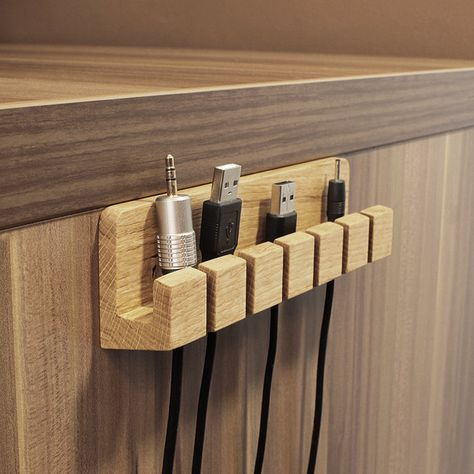 Wood Cable and Charger Organizer – Cable Administration for Energy Cords and Charging Cables
