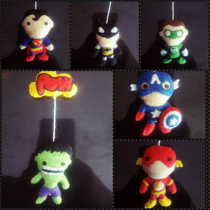 #SuperHeroes #Flash #Hulk #Batman #SuperMan #CaptainAmerica #GreenLantern #BabyMobile #Felt #Handmade