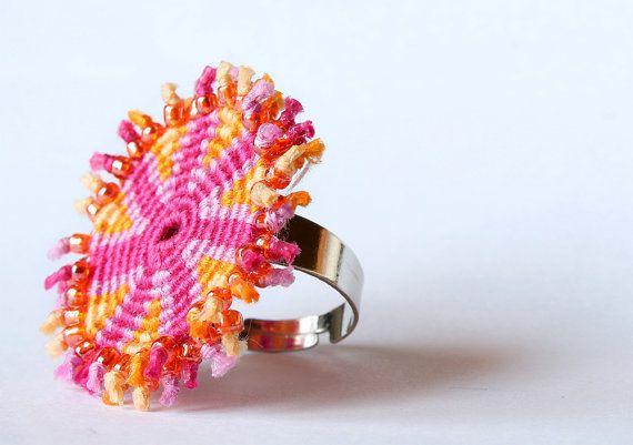 Macrame spiral geometric statement ring boho by KnottedWorld, €7.20
