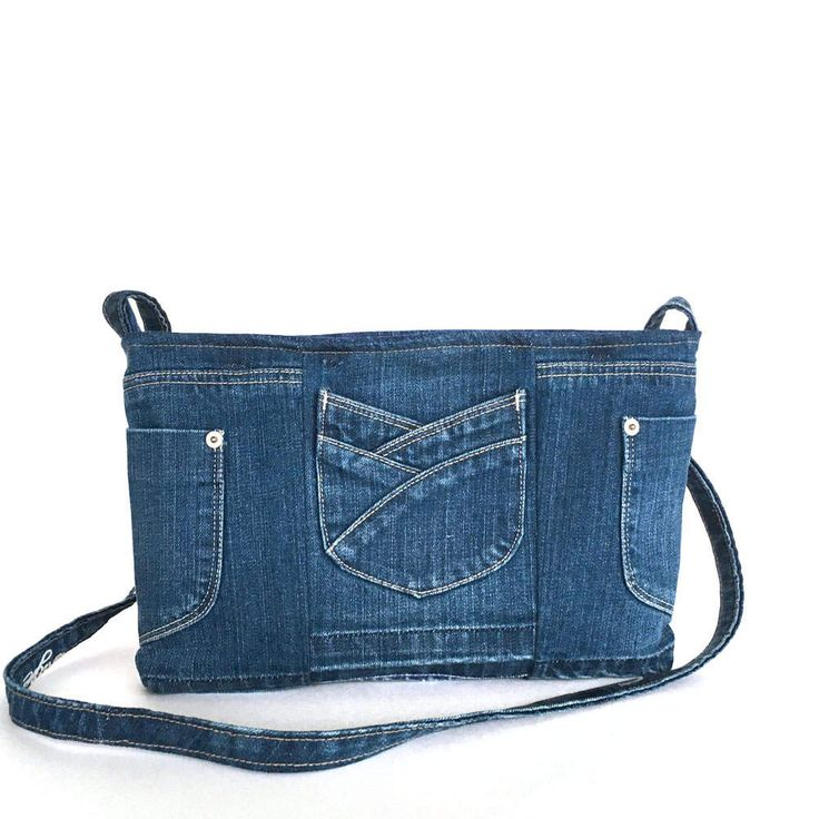 Recycled messenger bag Blue denim side purse Upcycled jean
