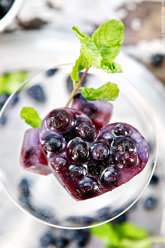 Throw these heart-shaped blueberry cubes into any iced tea for a delicious beverage.